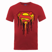 DC Comics Men's T-Shirt Superman Drip Logo - Cherry Red