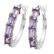 Silver Plated Rectangular Amethyst Stone Hoop Earrings