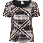 Vero Moda Women's Lima Short Sleeve Metallic Top - Gold