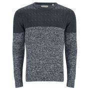 Brave Soul Men's Roman Cable Texture Knitted Jumper - Charcoal/Mid Grey