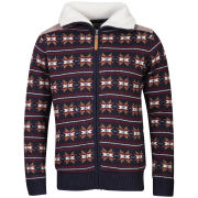 Brave Soul Men's Carlyleb Fairisle Zip Through Jumper - Navy