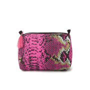 Mercy Delta Medium Wash Bag - Python Pink