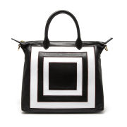 Lulu Guinness Small Squares Leather London Tote - Black/White