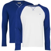 Brave Soul Men's Prague 2-Pack Long Sleeve Raglan Top - Blue/White