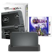 NEW 3DS XL Metallic Black Console - Includes Legend of Zelda: Majora's Mask & Black Charging Cradle