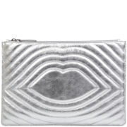 Lulu Guinness Lip Quilted Leather Portfolio Clutch - Silver
