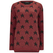 Maison Scotch Women's Stars Fluffy Knit Jumper - Red