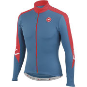 Castelli Classica Long Sleeve Full Zip Jersey - Moonlight Blue/Red
