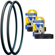 Michelin Dynamic Sport Clincher Road Tyre Twin Pack with 2 Free Tubes - Blue 700c x 23mm