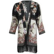 VILA Women's Safe Fringe Kimono - Black