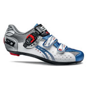 Sidi Genius 5 Fit Carbon Cycling Shoes - Steel/White/Blue 2014