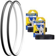 Michelin Dynamic Sport Clincher Road Tyre Twin Pack with 2 Free Tubes - White 700c x 25mm