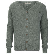 Brave Soul Men's Knitted Cardigan - Forest Green/Navy/Barley Twist