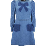 Love Moschino Women's Bow Denim Dress - Blue - 8 UK 8Blue