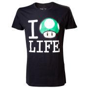 Mushroom I LOVE LIFE - T-Shirt (Black)