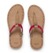 UGG Australia Women's Bria Leather Flip Flops - Tomato Soup