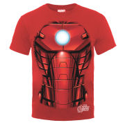 Marvel Avengers Assemble Iron Man Chest Burst Men's T-Shirt - Red
