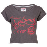 Tokyo Laundry Women's Cropped Collegic T-Shirt - Dark Grey Marl