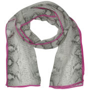 Codello Women's Snake Print Long Silk Scarf - Grey/Dark Pink
