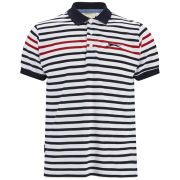 Slazenger Men's Pearce Striped Polo Shirt - White/Navy/Red