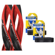 Michelin Lithion 2 Clincher Road Tyre Twin Pack with 2 Free Tubes - Red/Black 700c x 23mm