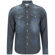 REPLAY Men's Western Denim Shirt - Mid Blue