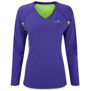 RonHill Women's Aspiration Long Sleeve T-Shirt - Plum/Fluorescent Green