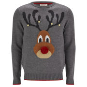 Threadbare Men's Rudolph Knitted Jumper - Charcoal Marl