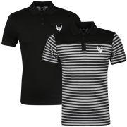 Ringspun Men's 2 Pack Polo-Shirt - Grey with Black Stripe/Black
