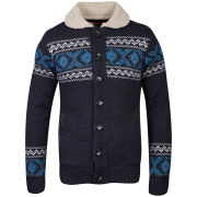 Tokyo Laundry Men's Fireball Sherpa Collar Knit - Dark Denim Marl
