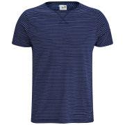 Boxfresh Men's Labret Skinny Stripe Tee - Mid Navy/White Pinstipe