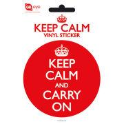 Keep Calm And Carry On - Vinyl Sticker - 10 x 15cm