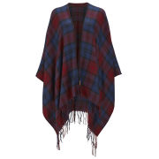 ONLY Women's Cathrine Check Poncho - Tawny Port