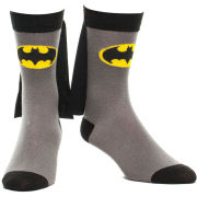 DC Comics Batman Logo Crew Socks With Superhero Cape Attachment