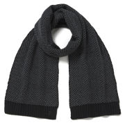 French Connection Luke Birdseye Stitch Scarf - Black/Charcoal
