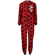 Minnie Mouse Women's Printed Fleece Onesie - Black & Red