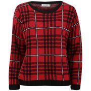 Moku Women's Checked Knit Jumper - Red