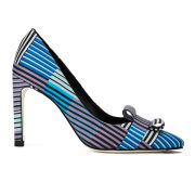 Paul Smith Shoes Women's Hope Silk Bow Court Shoes - Blue Miami Stripe Matto