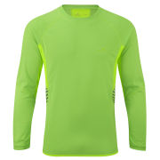 RonHill Men's Vizion Long Sleeve Crew Neck Running Top - Fluorescent Green/Fluorescent Yellow
