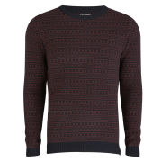 Jack & Jones Premium Men's Vincent Crew Neck Knit - Wine/Black