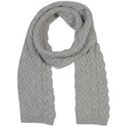 Johnstons of Elgin Cable Knit Cashmere Scarf - Silver/Grey