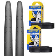Continental Grand Prix Clincher Road Tyre Twin Pack with 2 Free Inner Tubes - Black 700c x 25mm