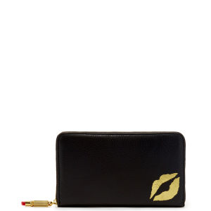 Lulu Guinness Grainy Leather Continental Wallet - Black