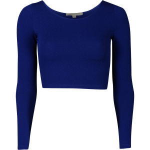 Glamorous Women's Long Sleeve Textured Crop - Blue