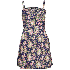 Club L Women's Strappy Floral Skater Dress - Navy
