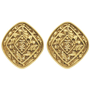 Susan Caplan Vintage Chanel Gilt Metal Diamond Shape 'CC' Logo Earrings