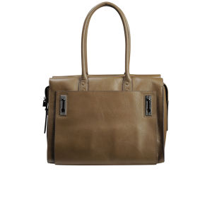 French Connection Game On Large Leather Shoulder Bag - Burnt Charcoal