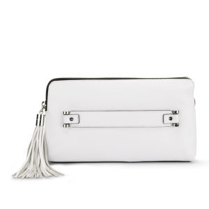 MILLY Astor Pebble Hand Through Leather Clutch - White