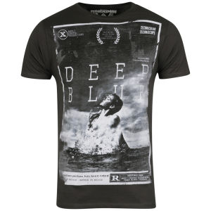 Ringspun Men's Photo Print T shirt Deep Blue - Faded Black