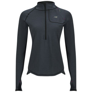 New Balance Women's NBX Boylston Half Zip Long Sleeve T-Shirt - Black